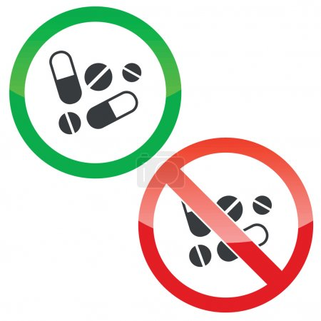 Illustration for Allowed and forbidden signs with pills and tablets image, isolated on white - Royalty Free Image