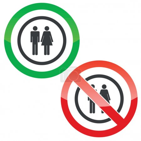 Man and woman permission signs