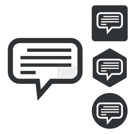 Illustration pour Jeu d'icônes message de texte, monochrome, isolé sur blanc - image libre de droit