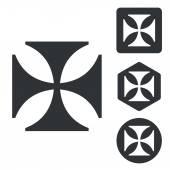 Maltese cross icon set monochrome