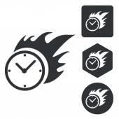 Burning clock icon set, monochrome