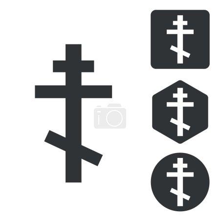 Orthodox cross icon set, monochrome
