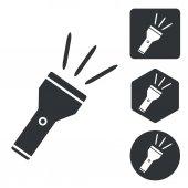 Flashlight icon set monochrome
