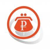 Rouble purse sign sticker orange circle with image inside on white background