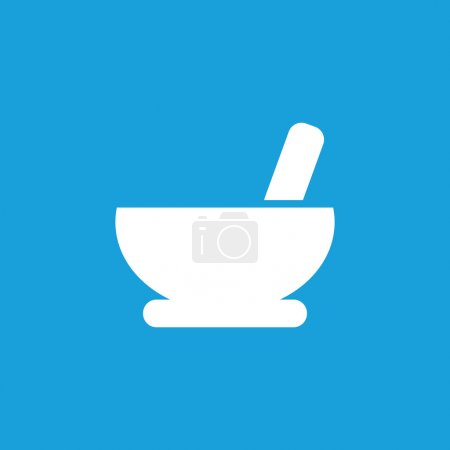 Mortar and pestle icon, white