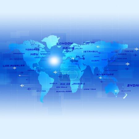 Photo pour Contexte global aviation avec des avions et des noms de villes sur une carte - image libre de droit