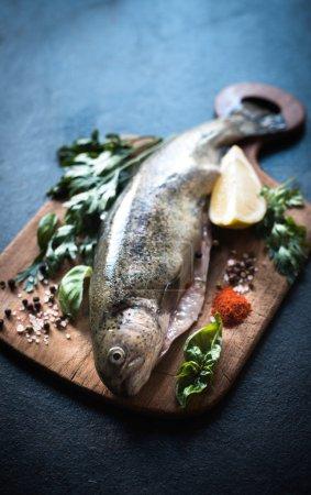 Raw fish on the board
