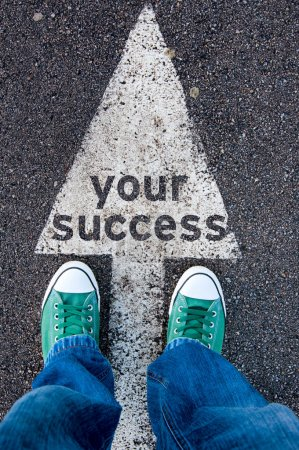 Green shoes on your success sign