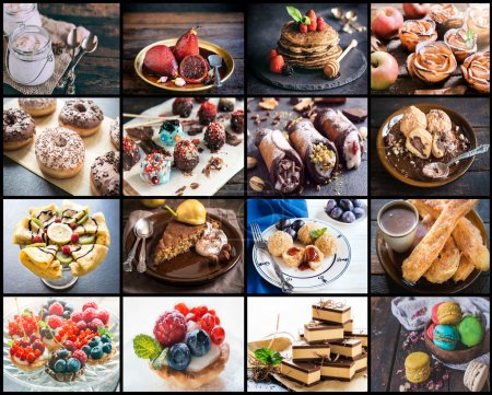 Photo for Photo collage of different desserts - Royalty Free Image