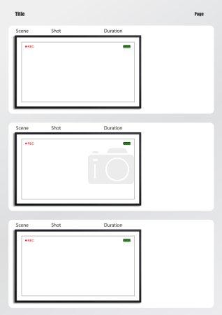 Camera viewfinder storyboard template 3 frame