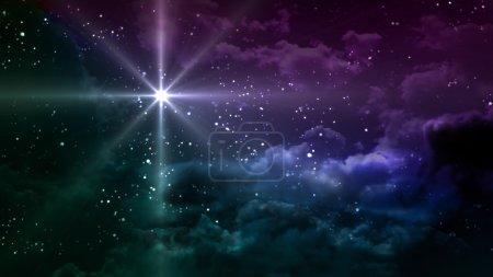 Photo pour Nuit étoilée colorée avec planète étoile, il représente le thème de Noël - image libre de droit