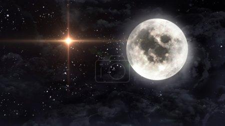 Photo pour Étoile étoilé avec la pleine lune en cloudscape - image libre de droit