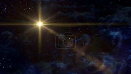 Photo pour Un Bethléem illuminé par l'étoile de Noël du Christ - image libre de droit