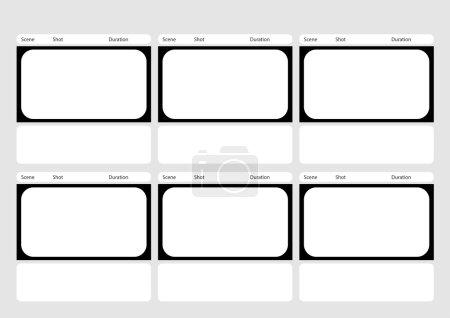 Illustration pour Professionnel de HD 1920 x 1080 16 : 9 storyboard modèle est la commodité de présenter le scénario au client. La conception A4 du rapport de papier est facile à adapter pour l'impression . - image libre de droit