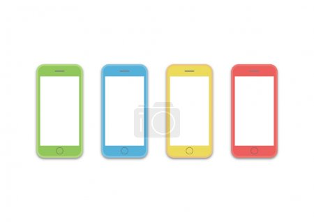 phone 4 colors os layout template