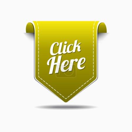 Illustration pour Cliquez ici Conception d'icône vectorielle jaune - image libre de droit