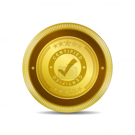 Illustration for Certified Golden Vector Icon Button - Royalty Free Image