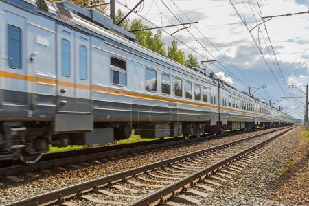 Moscow, Russia - August 28, 2015:  Passenger train rushes
