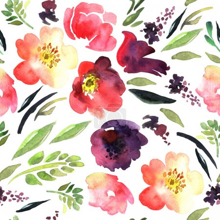 Bright watercolor floral pattern
