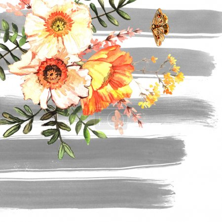 background with delicate flowers and stripes