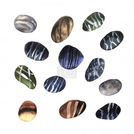 Watercolor set stones
