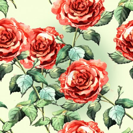 watercolor pattern with red roses