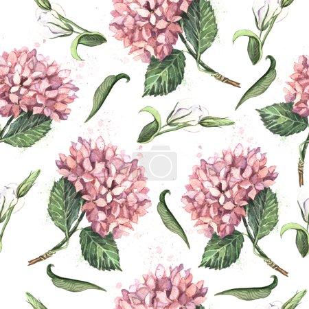 Foto de Acuarela patrón vintage con hortensias rosas y mariposas - Imagen libre de derechos