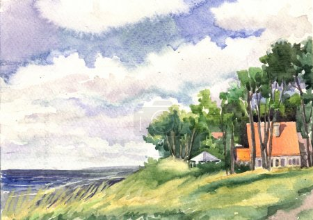 Watercolor Seascape with house and trees