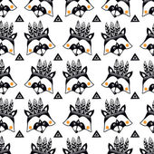 Children's pattern with raccoons