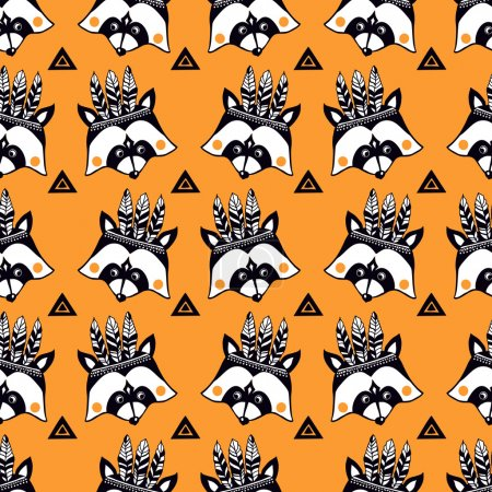 Funny children's pattern with raccoons on yellow b...