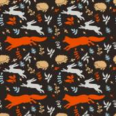 Forest pattern with animals and leaves