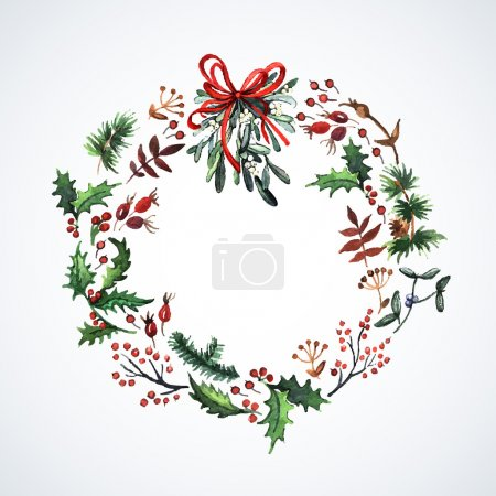 Illustration for Watercolor wreath with Christmas plants. Watercolor. Christmas decor. Ideal for design Christmas gifts and scrapbooking. Illustration for greeting cards, invitations, and other printing projects. - Royalty Free Image