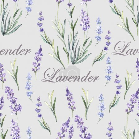 Illustration for Watercolor Lavender Botanical seamless. Hand painting. Watercolor. Seamless pattern for fabric, paper and other printing and web projects. - Royalty Free Image