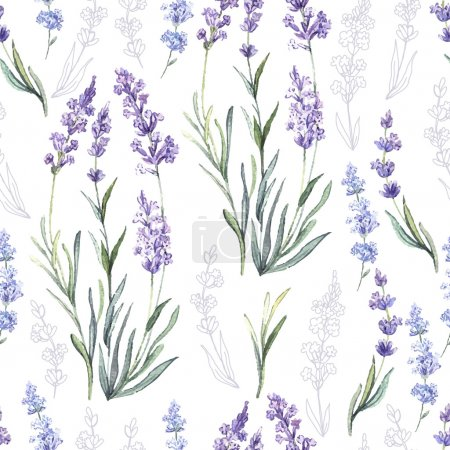 Illustration for Watercolor vector pattern with Lavender. Hand painting. Watercolor. Seamless pattern for fabric, paper and other printing and web projects. - Royalty Free Image