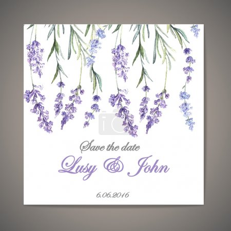 Invitation with  watercolor lavander