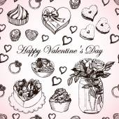 Retro pattern for Valentine's Day Hand drawing Seamless pattern for fabric paper and other printing and web projects