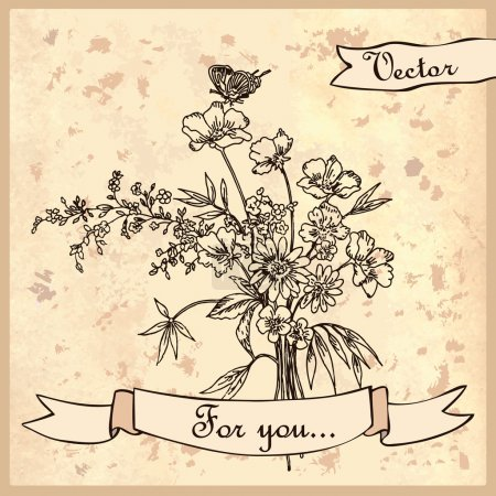Illustration for Vintage card with a bouquet of wildflowers. Illustration for greeting cards and other printing and web projects. - Royalty Free Image