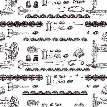 Illustration pour Motif décoratif vintage avec accessoires de couture. Dessin manuel . - image libre de droit
