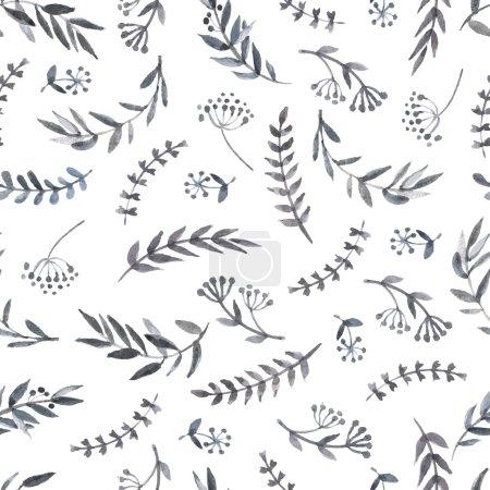Illustration pour Monochrome aquarelle motif floral fond - image libre de droit