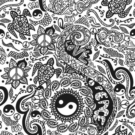 Illustration for Pattern with a hippie ornaments. Doodle pattern. Hand graphics. Seamless pattern for fabric, paper and other printing and web projects. - Royalty Free Image