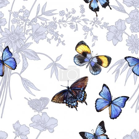 Illustration for Floral patterns with butterflies. Hand painting. Watercolor. Vector illustration.Seam - Royalty Free Image