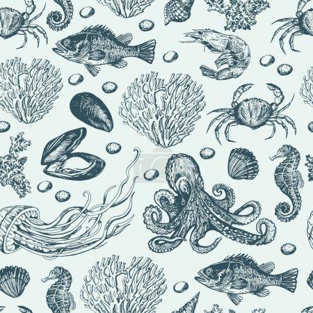 Illustration pour Modèle marin avec divers habitants sous-marins - image libre de droit