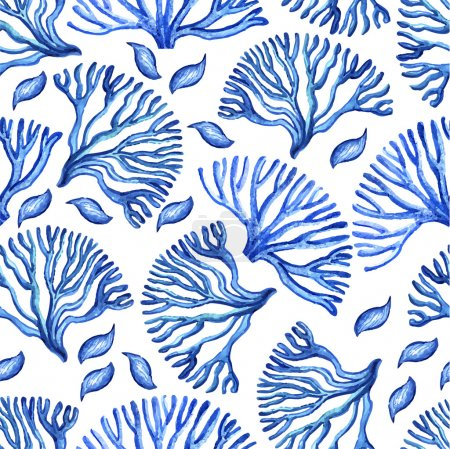 Pattern with watercolor sea corals