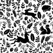 Seamless vector pattern of forest with animals and...