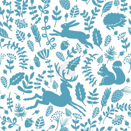 Illustration for Seamless vector pattern of forest with animals and leaves - Royalty Free Image
