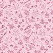 Hand-drawn doodle pattern for St Valentines Day Seamless pattern for fabric paper and other printing and web projects