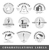 Set of vintage congratulations labels