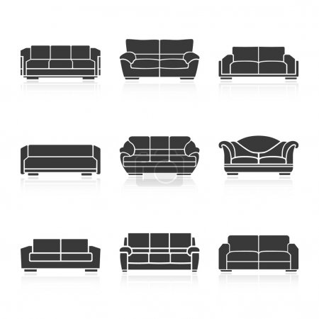 Set of black sofas