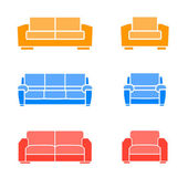 A set of sofas and armchairs on a white background Vector