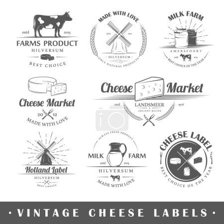 Ilustración de Set de queso etiquetas vintage. Carteles, sellos, banderas y elementos de diseño. Ilustración de vector - Imagen libre de derechos